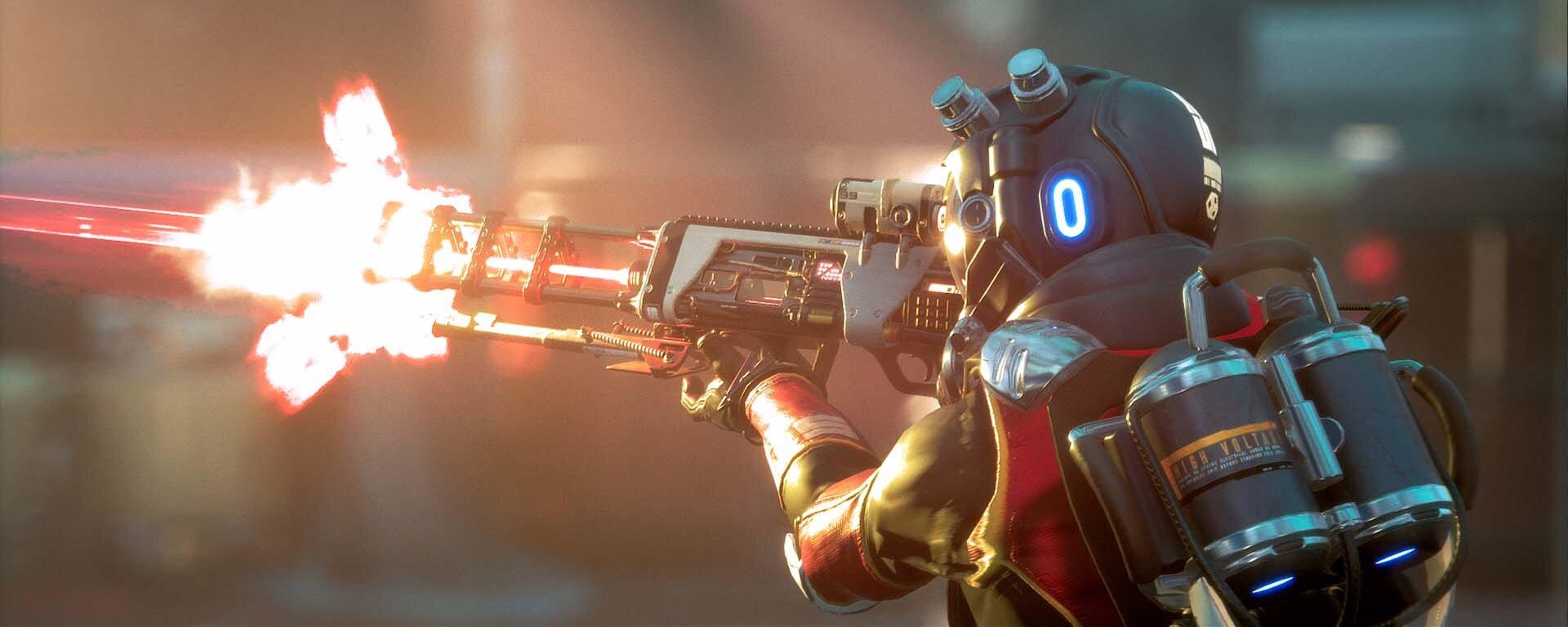 Turn Based FPS Lemnis Gate Character fires sniper rifle.