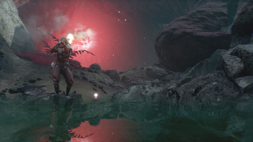 Screenshot from game Lemnis Gate. Character reloads gun in from of a time portal.