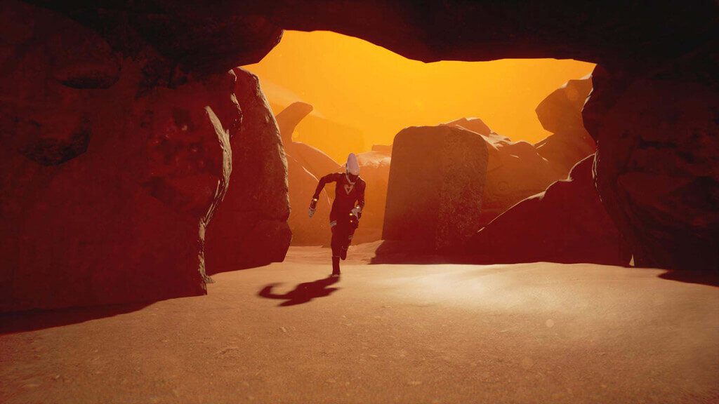 Screenshot from game Lemnis Gate. Character runs towards the camera on a rocky, environment similar to a desert.