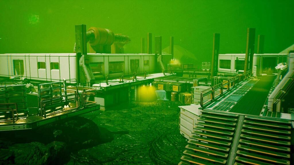 Screenshot from game Lemnis Gate. Picture shows Iridium Plains map, with a green tone, and advanced buildings that resemble a factory.
