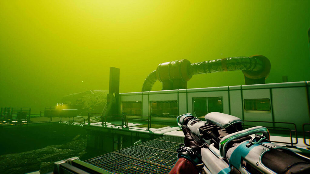 Screenshot from game Lemnis Gate. First-Person view from character Kapitan. She overlooks a building with part of her assault rifle showing.