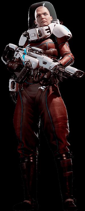 Lemnis Gate character Kapitan holding Auto Rifle