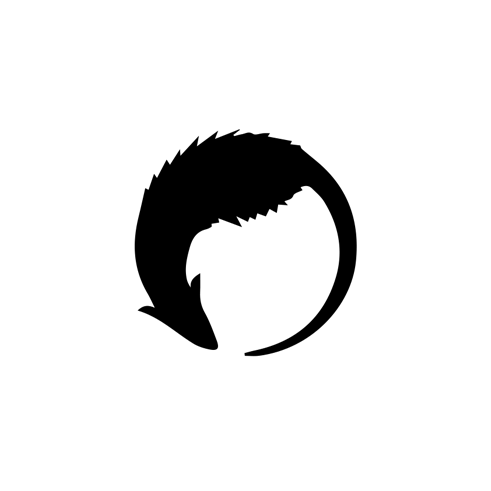 Logo consists of white circle with black rat silhouette chasing own tail.