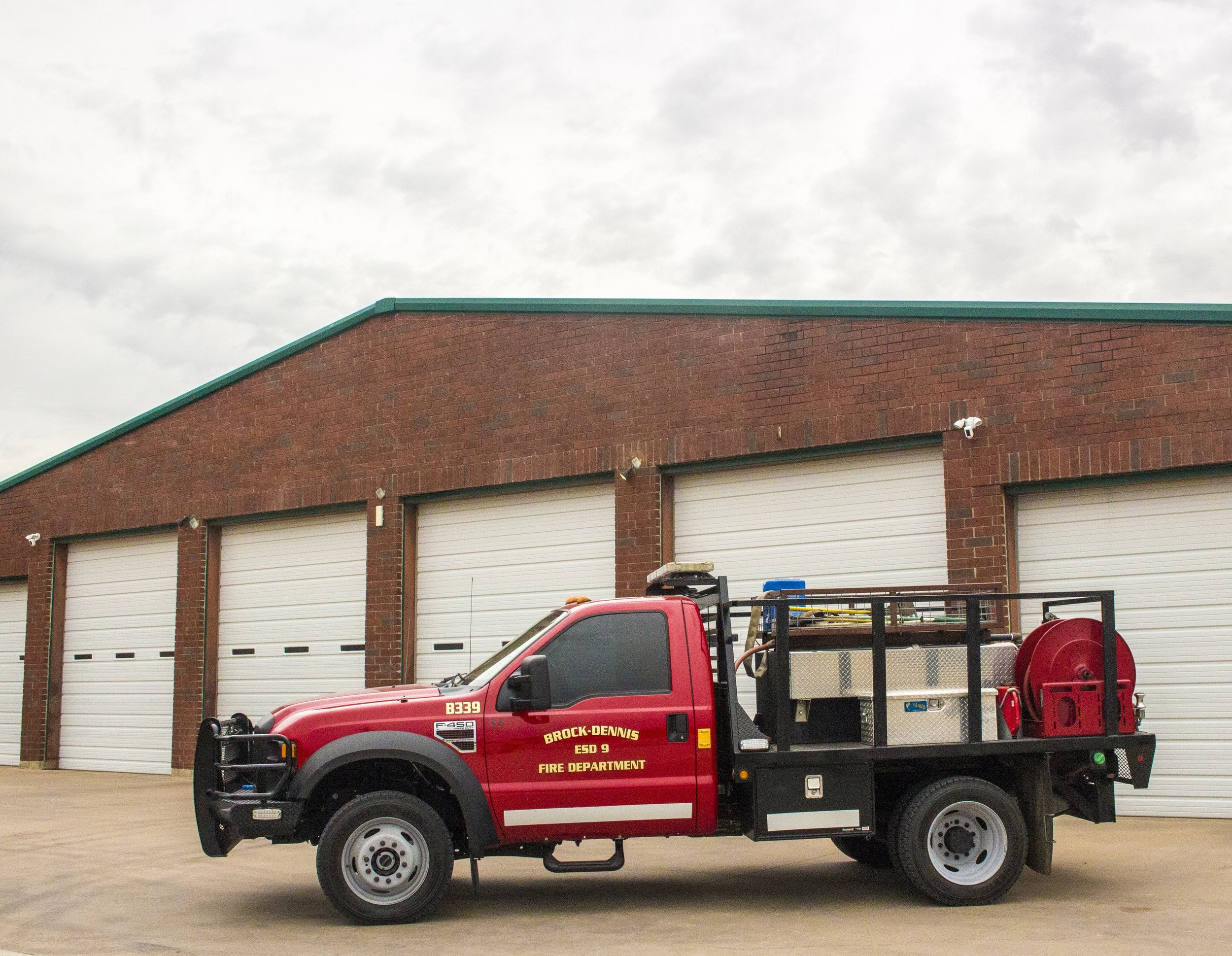B339 - A 2013 f450 purchased in 2011. It has capacity to carry 300 gallons of water for grass and brush fires. Today it is housed at Station 3 south of the river. It is currently being prepped for a new skid unit to house 400 gallons of water with a higher volume pump.