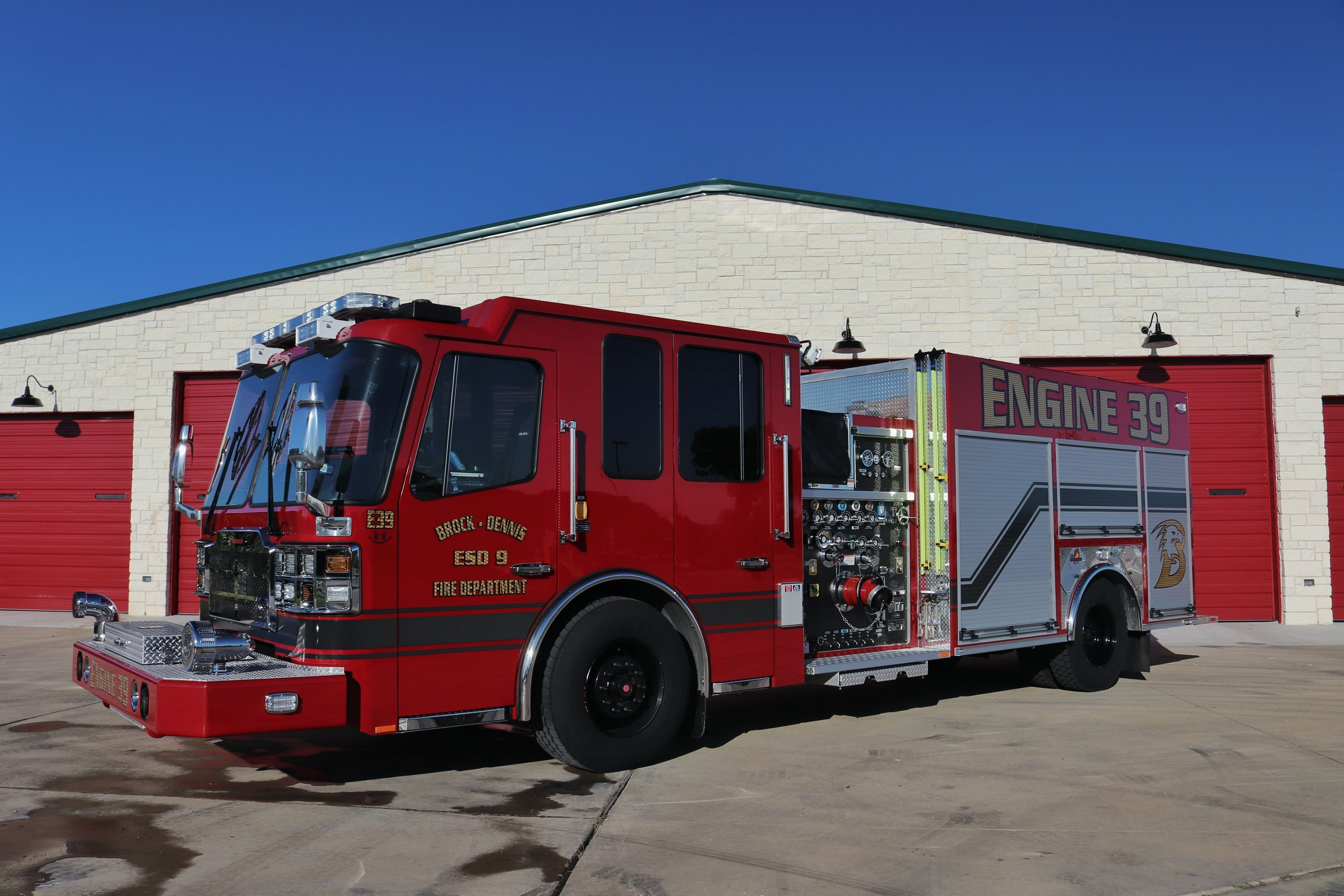 Engine 39 - Located at Station 1 is our 2019 Ferrara custom cab engine. This engine has a carrying capacity of 1000 gallons of water, rescue tools, and 6 firefighters. Funding was thankfully provided by ESD #9 and a grant from the Texas Forest Service.