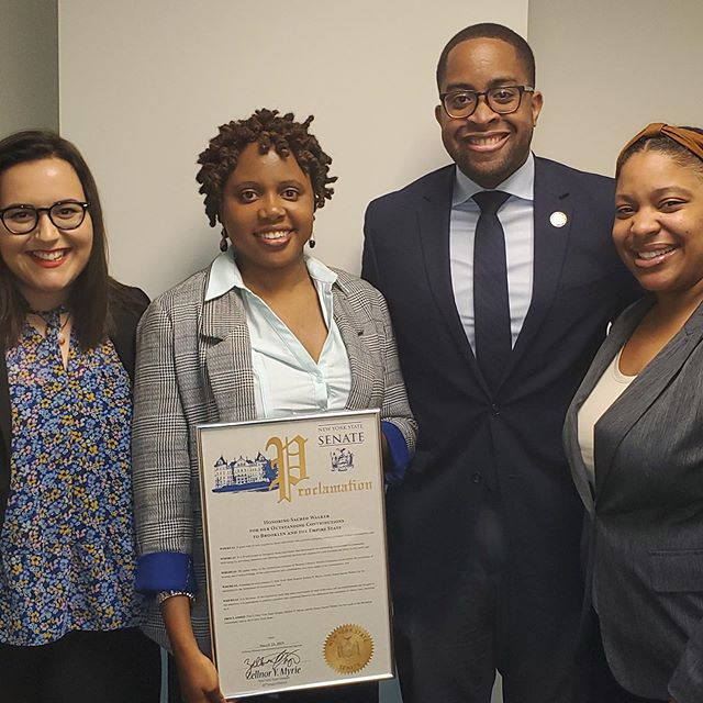"""This day-- May 9th, 2019-- I was so proud to be honored by the dynamic Senator Zellnor Myrie and his team over at the New York State Senate, for my team and I's commitment to health. But it also served as the perfect reminder.... . .""""A career is great. But if you don't have your health, you have nothing."""" -- Michelle Gadsen Williams ✨. . Kuumba Health, my love for health and wellness, my dedication to helping others 👥 on their journey to #becoming the Visionary Leaders and Caregivers that they are, inside and out, would be nothing if not for my acceptance of the two most common hurdles that we all face as a human race: Our own Imperfections, and our own Failures... . . Now, I know that those two words have a reputation of brimming storms 🌫 within our lives. But I realized something quite significant about this said storm along my own journey; that the humaneness of imperfection and the inevitability of failure, in one way or another, both lead to HEALING 💆🏽♀️. And healing— well healing ultimately leads to growth 🌱. . .If you are stuck, or if you feel as if you've given your best shot at unleashing your passion or passion project, without your health falling by the waste side or without having to be perfect, JOIN ME for my upcoming webinar and together we won't only find ourselves, but we'll continue to CREATE 🌈 ourselves. . . Receiving this Senate's Proclamation was only the icing on the impact I'm proud to make, but I want to share it with you! Yes, YOU 😊-- so click the LINK in BIO & lets #RiseTogether ✊🏽. .(📸: The senator's chief of staff, organizer of this wonderful event)"""