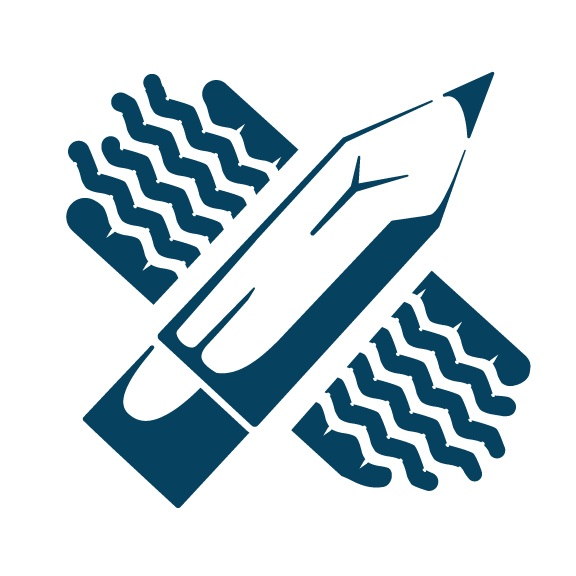 Imagination vector icon with tire tread crossing a pencil by Custer Creative