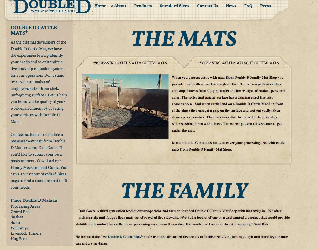 Screenshot of legacy Double D Website