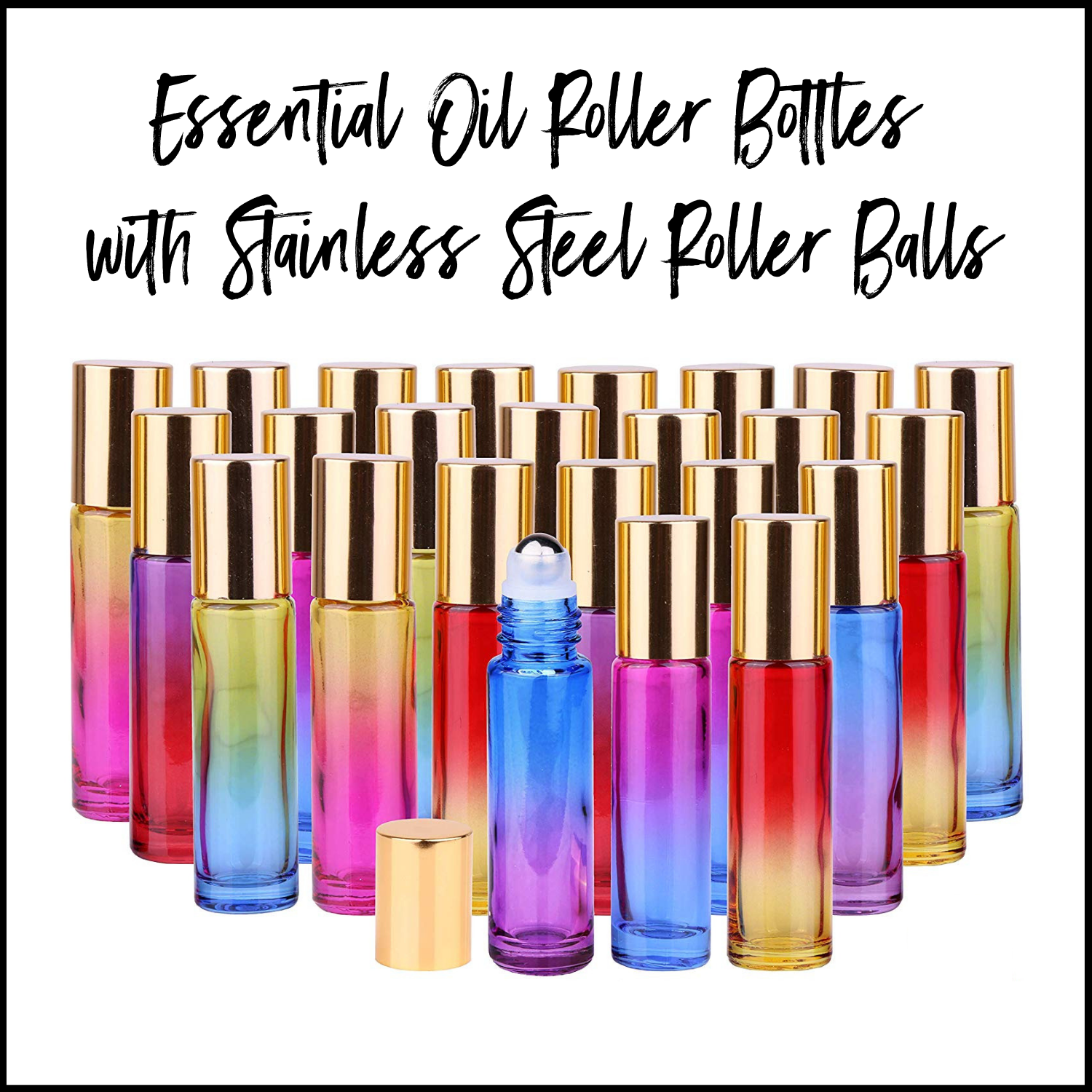 Glass Roller Bottles with Stainless Steel Roller Balls