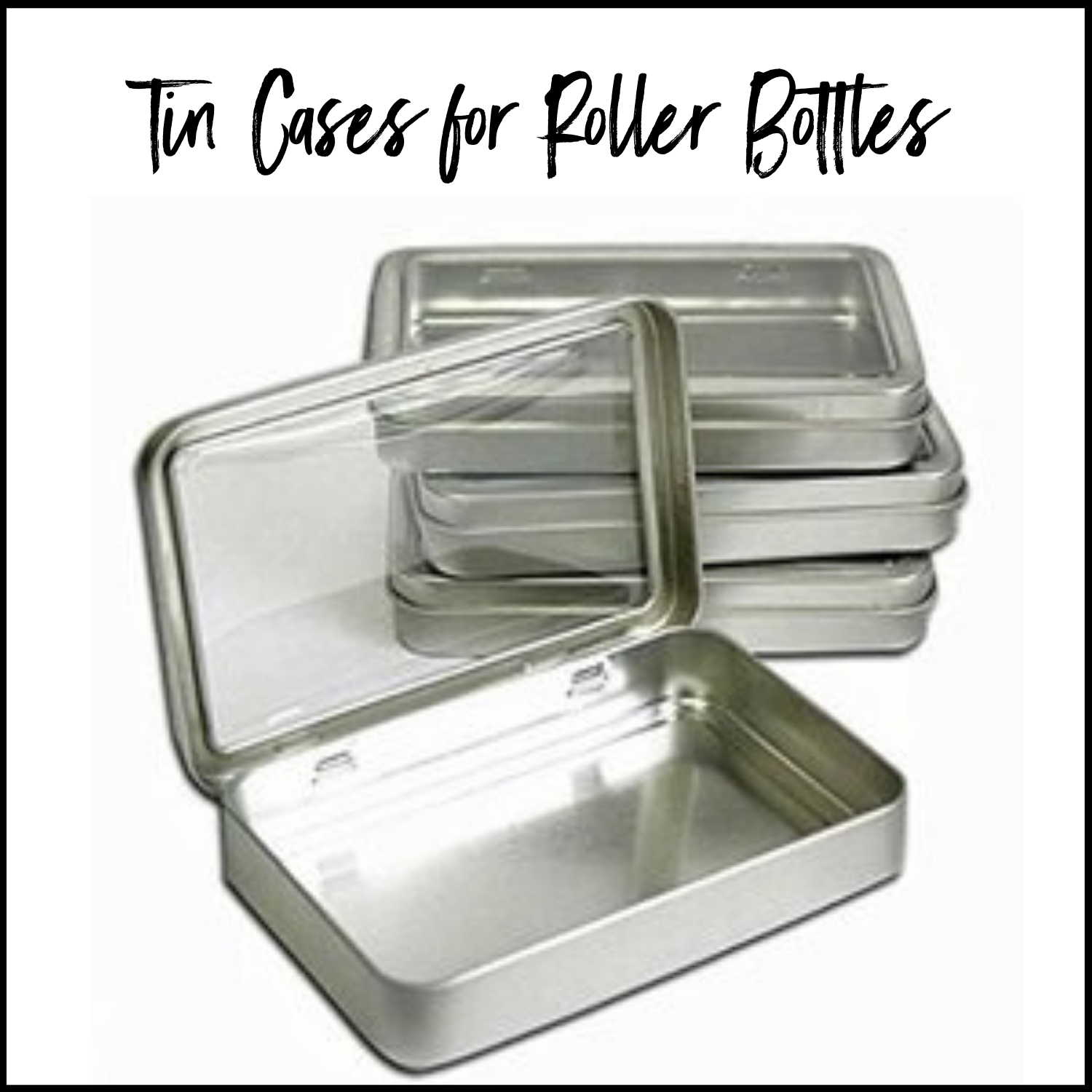 Rectangular Tins with Clear Top for EO Rollers