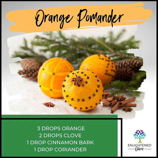 Pomanders, mixtures of fragrant dried herbs, were made in medieval times by herbalists to ward off illness or to bring good fortune.  Today, pomanders are easily made with a citrus fruit decorated with cloves and dusted with other spices.  Today, we make it even simpler, diffusing these amazing essential oils.  Have you every made a pomander?  If not, will ever made an orange pomander?  Are you down to try?  Orange Pomander  3💧Orange  2💧Clove  1💧Cinnamon Bark 1💧Coriander  * * * * #diffuserrecipes  #enlightenedoilers #essentialoils #youngliving #naturalliving #wellness #plantbased #essentialoilswork #essentialoilsrock #essentialoilsforlife #oilsforeverything  #yleo #younglivingessentialoils #younglivingeo #theresanoilforthat #nontoxic #holistichealth  #naturalsolutions #oilylife #oilymom #oilyfamily #orange #clove #cinnamon #coriander #orangepomander