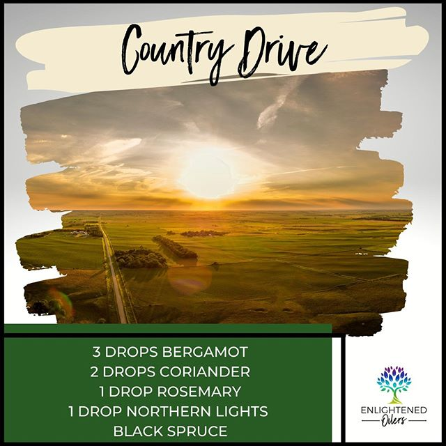 Road trips are the perfect opportunity to take in the beautiful scenery and escape from the chaos of everyday life.  What has been your favorite road trip?  Where would your ideal road trip take you?  Country Drive  3💧Bergamot  2💧Coriander  1💧Rosemary 1💧Northern Lights Black Spruce * * * * #enlightenedoilers #essentialoils #youngliving #naturalliving #wellness #plantbased #essentialoilswork #essentialoilsrock #essentialoilsforlife #oilsforeverything  #yleo #younglivingessentialoils #younglivingeo #theresanoilforthat #nontoxic #holistichealth  #naturalsolutions #oilylife #oilymom #oilyfamily #countrydrive #roadtrip #bergamot #coriander #rosemary #northernlightsblackspruce #familytime #getaway