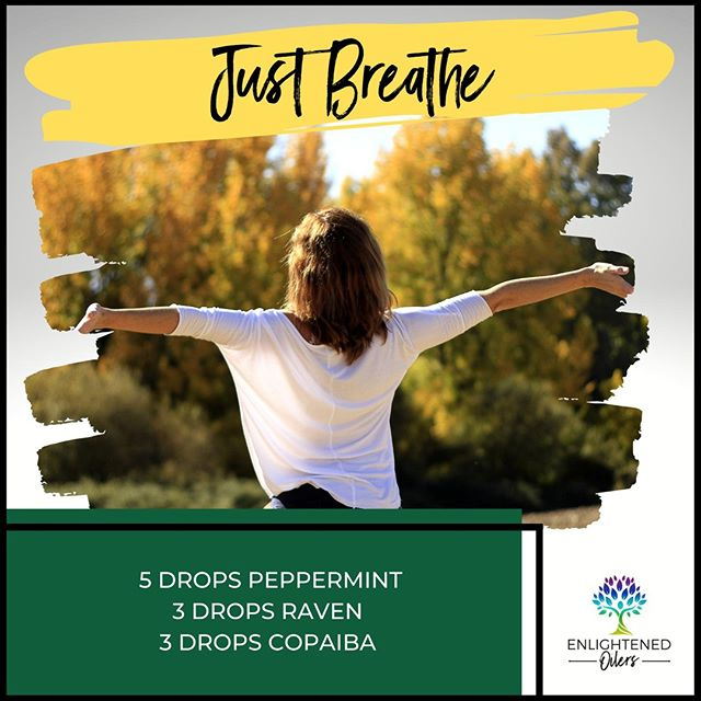 Sometimes this time of year can bring on feelings of being under the weather.  Grab this awesome diffuser blend to help you just breathe.  If you don't have copaiba, peppermint and raven will still help you breath clearly.    Breathe 5💧Peppermint  3💧Raven 3💧Copaiba   * * * * #diffuserrecipes  #enlightenedoilers #essentialoils #youngliving #naturalliving #wellness #plantbased #essentialoilswork #essentialoilsrock #essentialoilsforlife #oilsforeverything  #yleo #younglivingessentialoils #younglivingeo #theresanoilforthat #nontoxic #holistichealth  #naturalsolutions #oilylife #oilymom #oilyfamily #breathe #peppermint #raven #copaiba #fallwellness