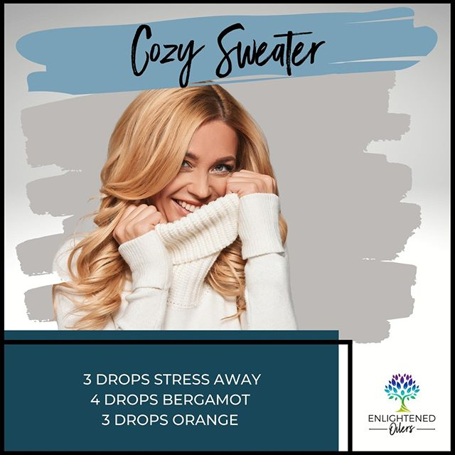 I LOVE fall and winter because all the soft, cozy sweaters come out, and I get to snuggle in my clothes!  What are some of your favorite cozy items to snuggle in?  Cozy Sweater 3💧Stress Away  4💧Bergamot 3💧Orange   * * * * #diffuserrecipes  #enlightenedoilers #essentialoils #youngliving #naturalliving #wellness #plantbased #essentialoilswork #essentialoilsrock #essentialoilsforlife #oilsforeverything  #yleo #younglivingessentialoils #younglivingeo #theresanoilforthat #nontoxic #holistichealth  #naturalsolutions #oilylife #oilymom #oilyfamily #cozysweater #stressaway #bergamot #orange #relaxation #snuggle #cuddle #cozy #fall