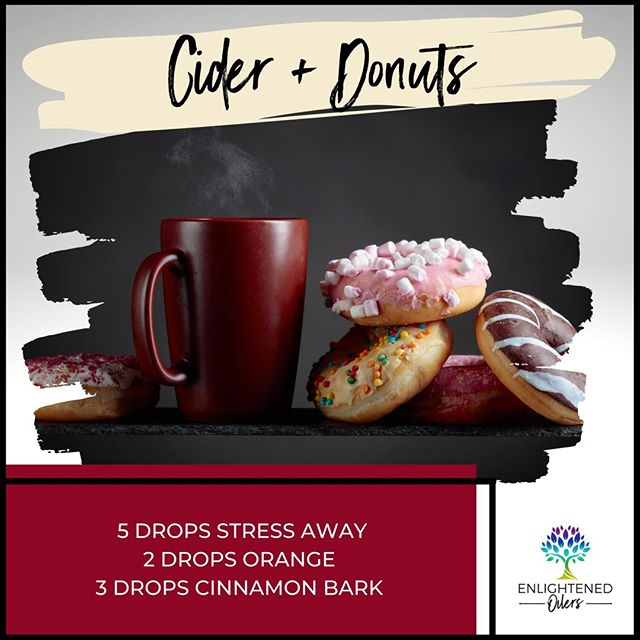 These look delicious!  I am so grateful to be gluten free, otherwise I don't think I could say no to these. 😅 What are your favorite treats to eat with your cider?  Cider & Donuts  5💧Stress Away  2💧Orange  3💧Cinnamon Bark   * * * * #diffuserrecipes  #enlightenedoilers #essentialoils #youngliving #naturalliving #wellness #plantbased #essentialoilswork #essentialoilsrock #essentialoilsforlife #oilsforeverything  #yleo #younglivingessentialoils #younglivingeo #theresanoilforthat #nontoxic #holistichealth  #naturalsolutions #oilylife #oilymom #oilyfamily #applecider #fallfavorites #stressaway #cinnamon #delicious