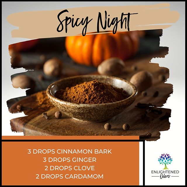 The spices that bring about the smell of fall are so calming.  Which spices bring you feelings of home, coziness, and peace?  Spicy Night 3💧Cinnamon Bark  3💧Ginger  2💧Clove 2💧Cardamom * * * * #diffuserrecipes  #enlightenedoilers #essentialoils #youngliving #naturalliving #wellness #plantbased #essentialoilswork #essentialoilsrock #essentialoilsforlife #oilsforeverything  #yleo #younglivingessentialoils #younglivingeo #theresanoilforthat #nontoxic #holistichealth  #naturalsolutions #oilylife #oilymom #oilyfamily #cinnamon #ginger #clove #cardamom #fall #smellssogood #autumn #ilovefall #spicy