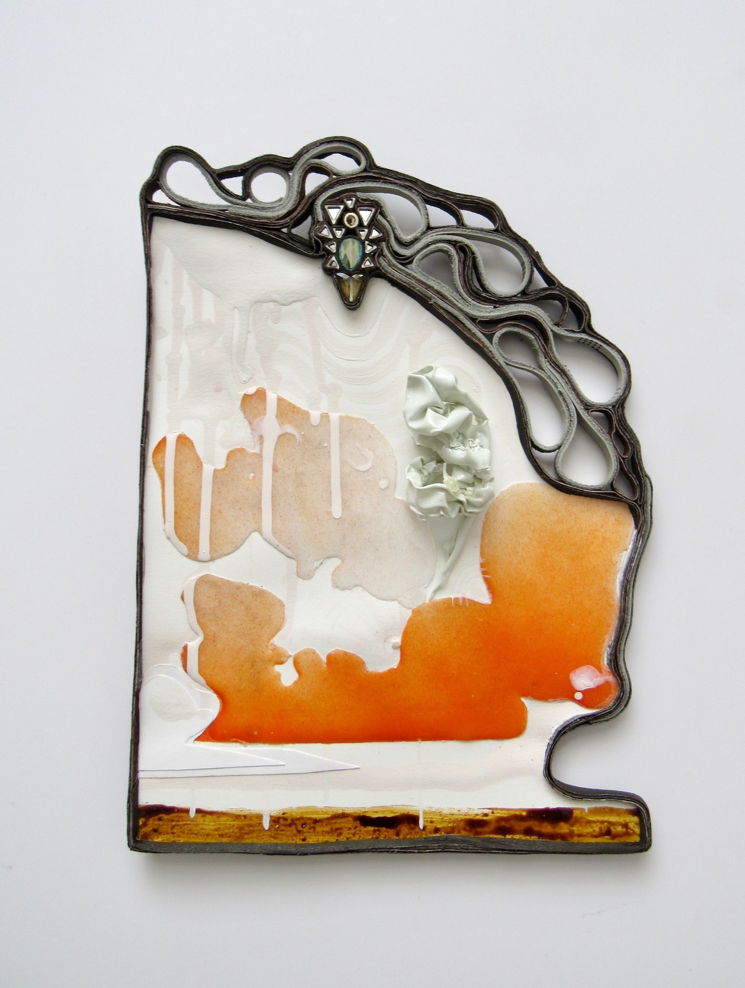 Past: Future Landscape 2  2019 Resin and acrylic on paper, leather, crystal, latex ballon, shellac. 11 x 8 x 2 inches