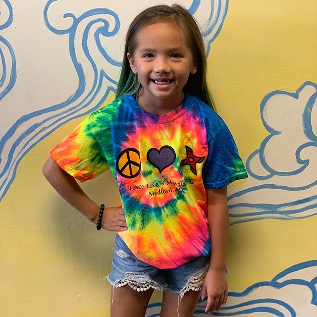 Enjoy these last days of summer in classic tie dye style. $28.99 each in youth & adult sizes. 🌞✌️❤️🥋🍭 #xtreme_merch #xtremeninja #peacelovemartialarts #medfordma #summerstyle #livelifeincolour #patienceandharmony