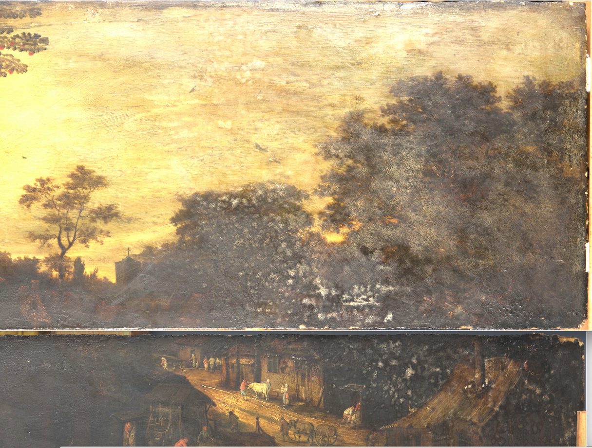 The upper right hand side of the painting before treatment, with dark overpainted foliage