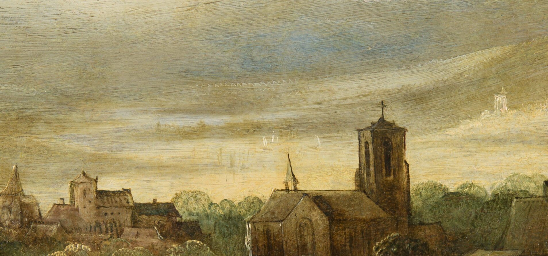 Detail of the landscape in the background behind the church after removal of the overpaint