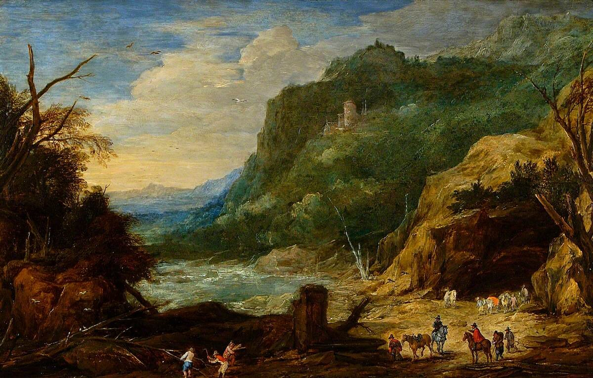 River with Castle, Horsemen and Woodcutters by Jan Brueghel the elder (1568–1625) or Joos de Momper the younger (1564–1635). Photo credit: Colchester and Ipswich Museums Service: Ipswich Borough Council Collection