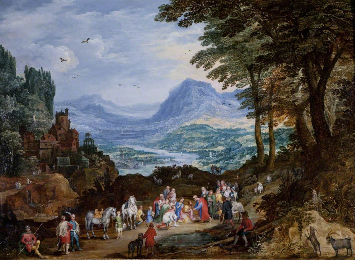 A Mountainous Road Scene with the Story of Saint Peter and Cornelius, by Jan Brueghel the elder (1568–1625) and Joos de Momper the younger (1564–1635). Photo credit: National Trust, Kedleston Hall and Eastern Museum
