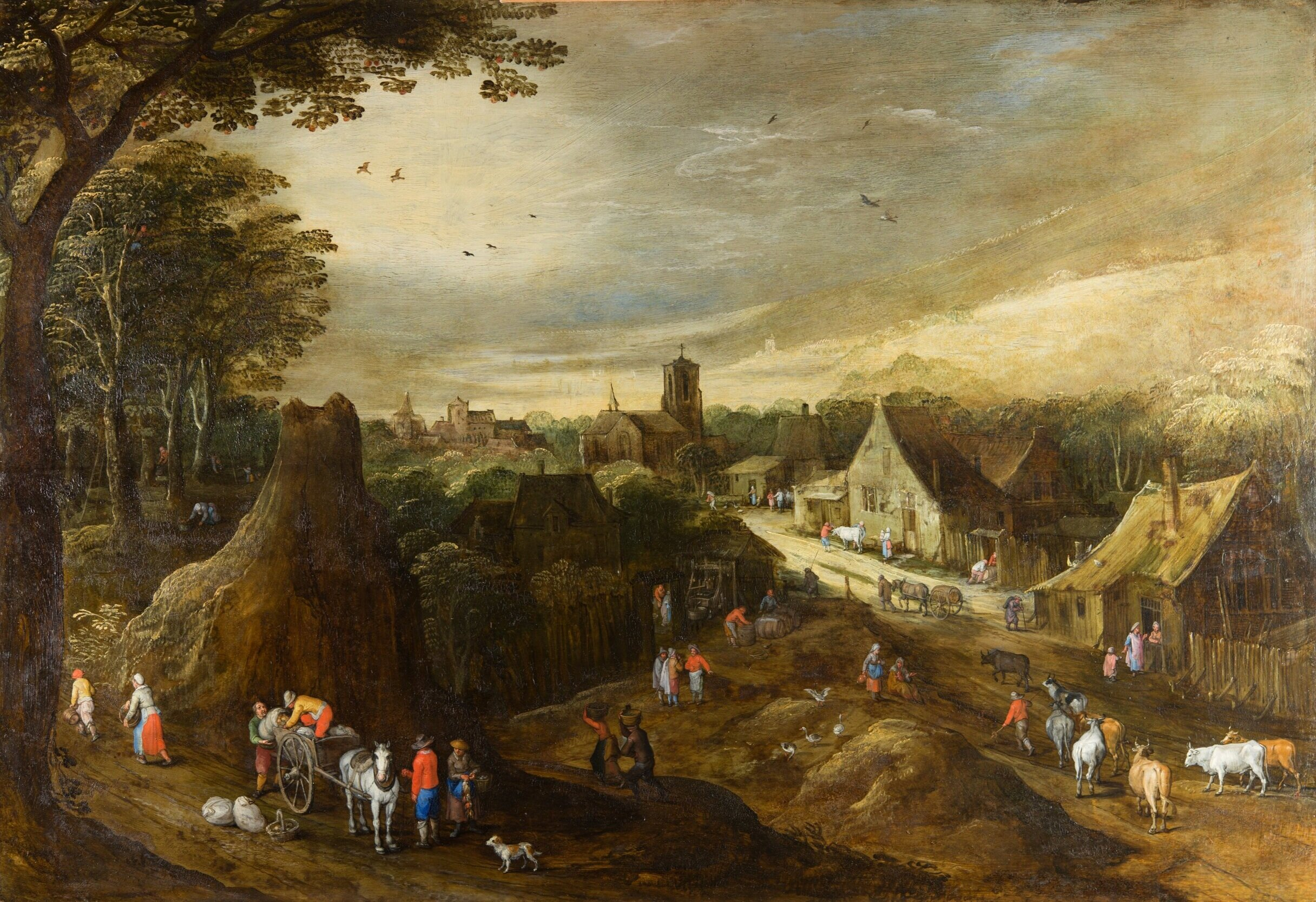 The painting after treatment. For comparison, the two images below, of two paintings by Jan Brueghel the Elder and Joos de Momper (taken from the  Art UK  website), give a sense of what this picture must have looked like before the blue pigments faded.