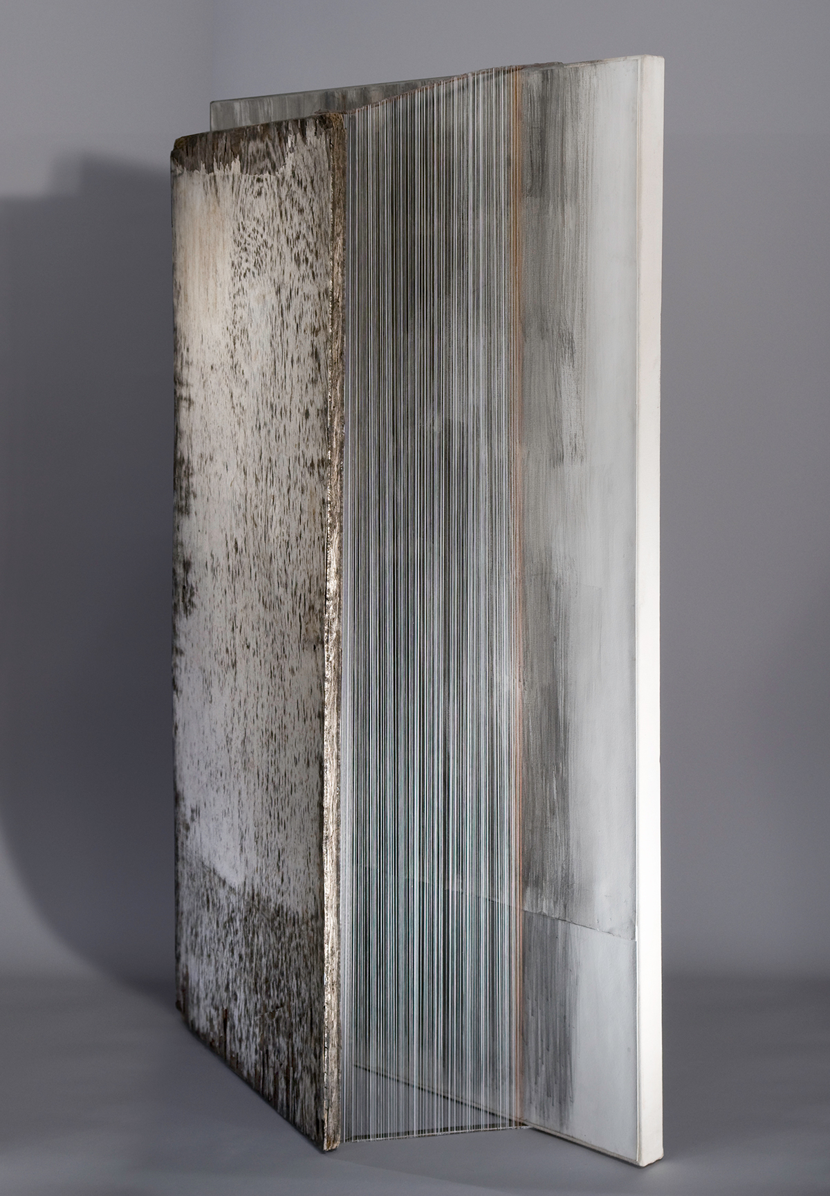 WHITE ALBUM   Found wood, pencil, paper, thread  50 x 31 x 9.5 Inches