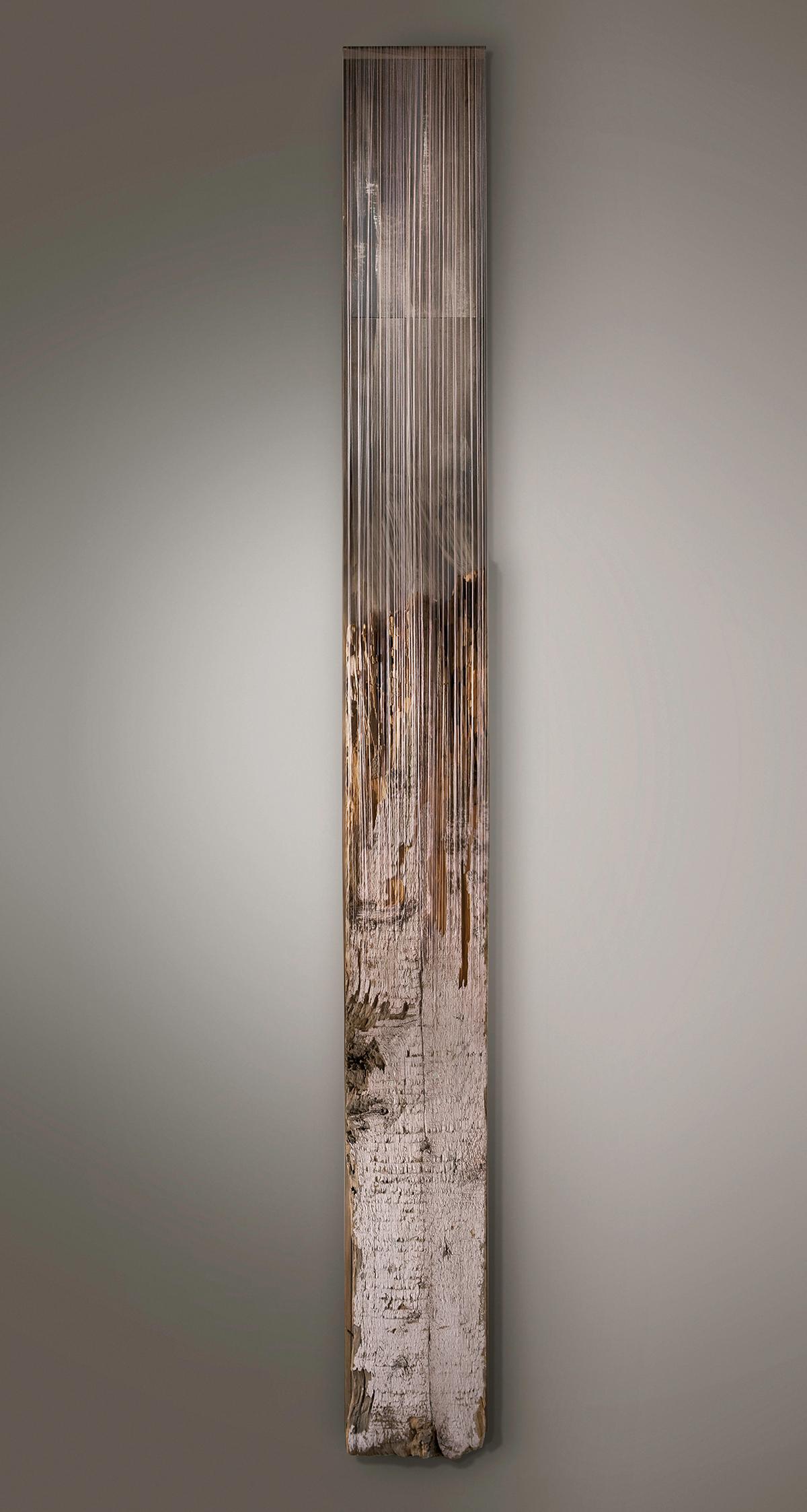 TOWARD APRIL   Found wood, acrylic wash, paper, thread  92 x 10 x 4.5 Inches