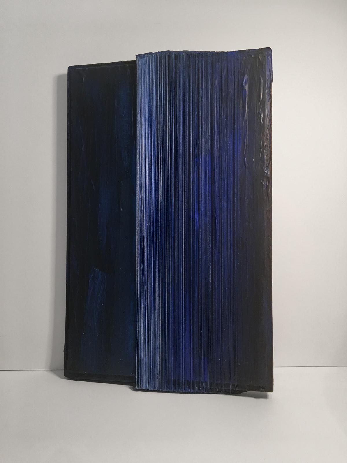 ATLANTIC NIGHT   Acrylic, canvas, thread  14 x 7 Inches