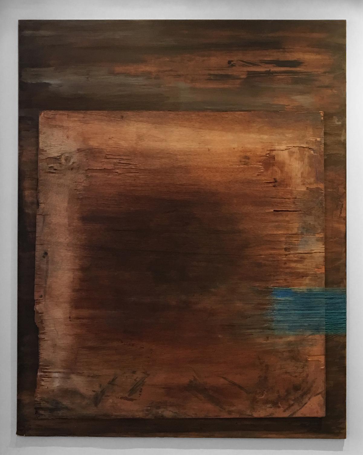 AEGEAN   Found wood, acrylic wash, thread  56 x 46 Inches