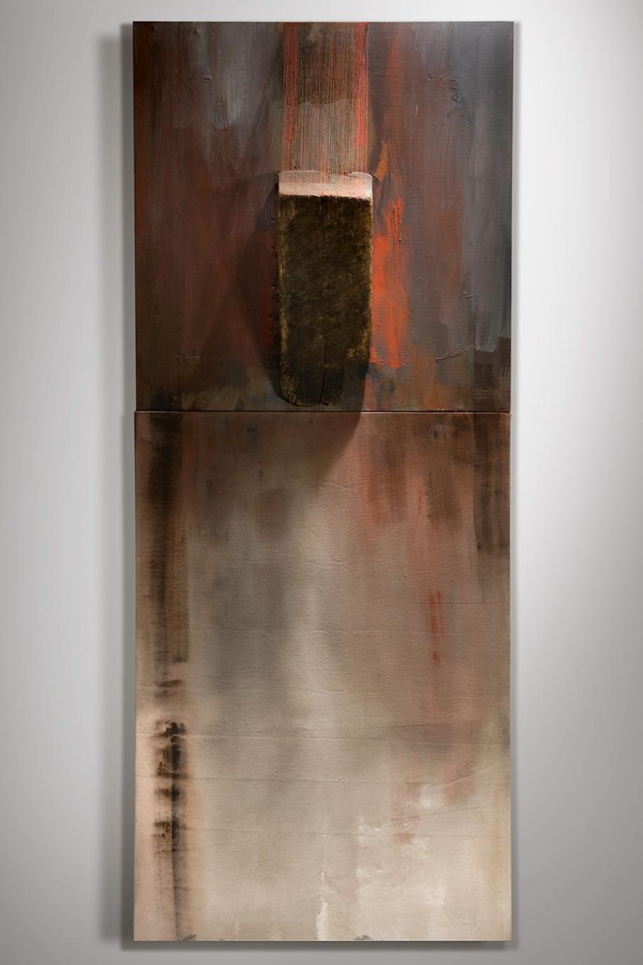 ANDEAN   Found wood, acrylic, canvas, thread  71 x 30 Inches