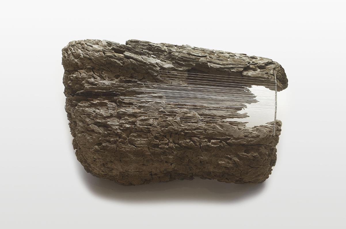 GHOSTWOOD   Found wood, thread  11 x 20 x 13 Inches