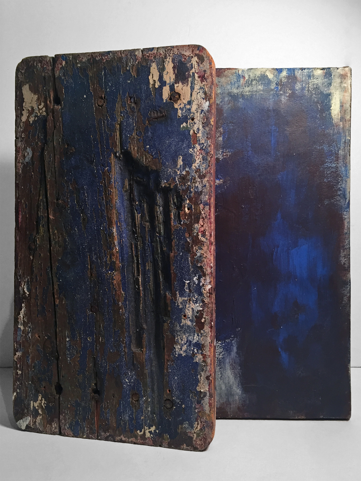 IONIAN   Found wood, acrylic, paper, canvas  14 x 13 x 3 Inches