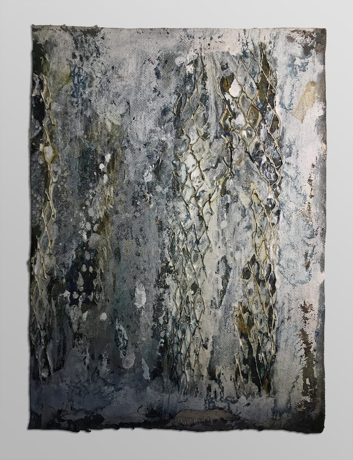 SUDDEN SNOW   Acrylic, net, canvas  11 x 8 Inches