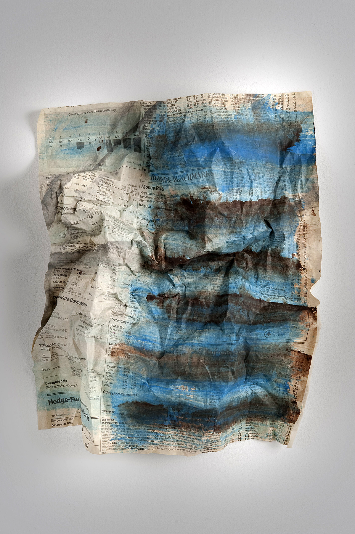 CRUMPLED BLUE   Acrylic wash, crumpled newsprint  11 x 8 Inches