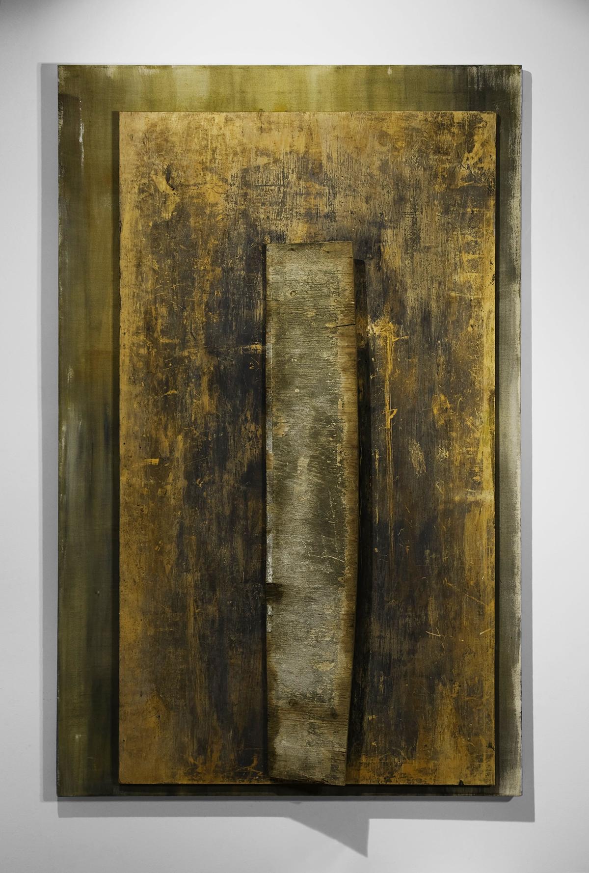 DORDOGNE   Found wood, acrylic, canvas  66 x 41 x 5 Inches