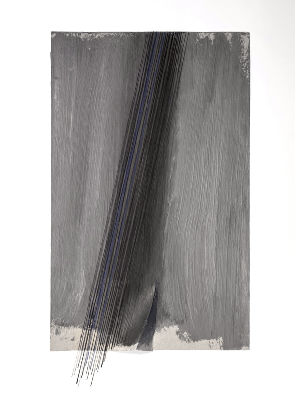 NIGHT FOLD   Acrylic wash, paper, thread  15 x 9.5 Inches