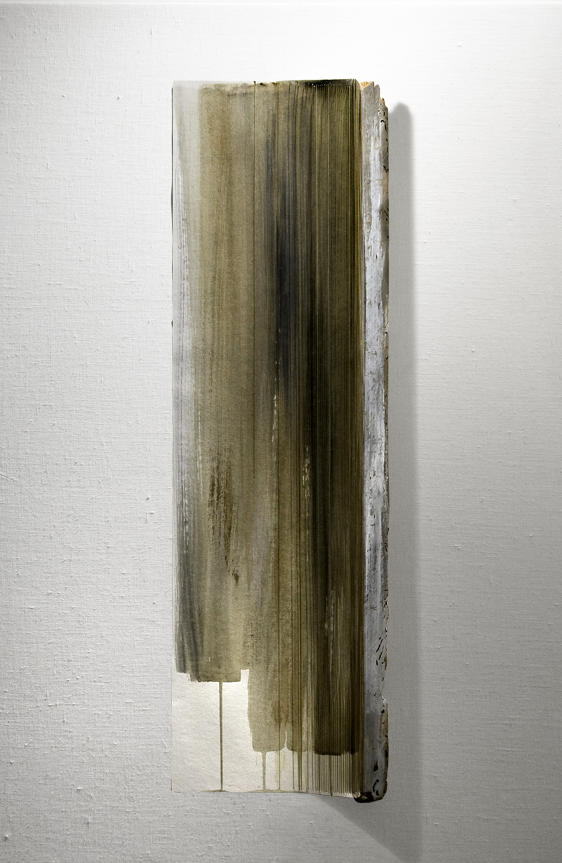 VELDT   Found wood, acrylic wash, paper, thread  31.5 x 9.5 Inches