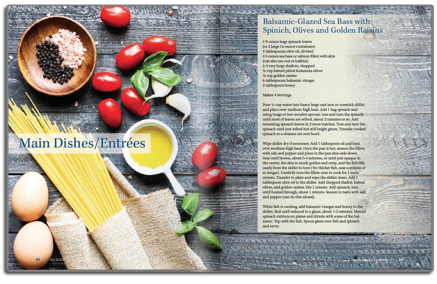 Chapter page layout with recipe.