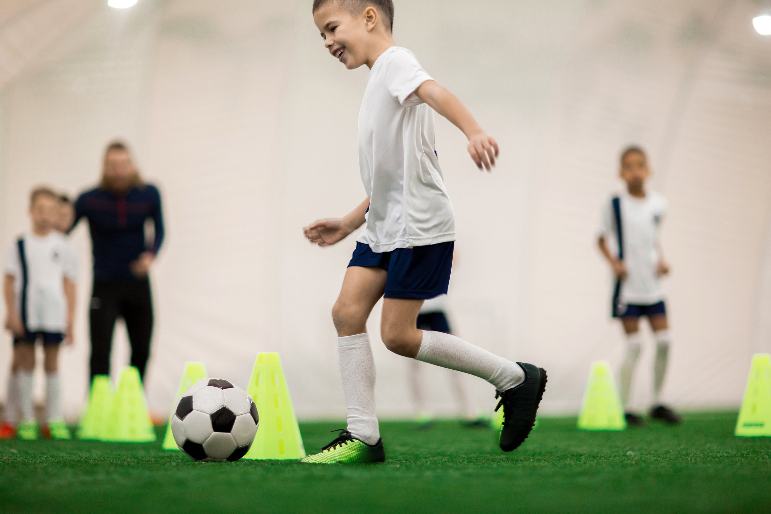 6 - 7 Years - Activities will be targeted to help players continue developing their technical skills and incorporating more passing, shooting, and basic ball control into their game