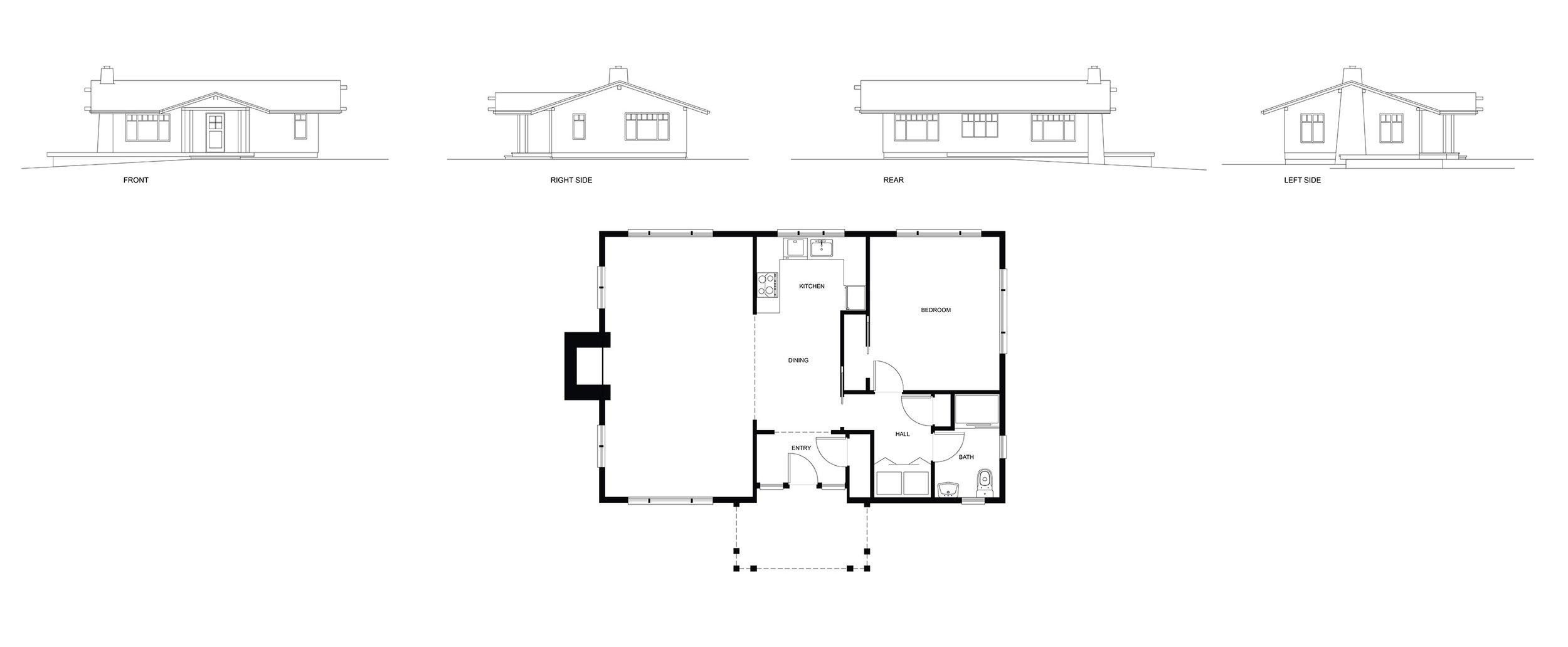 Guest House Elevations & Floor Plan