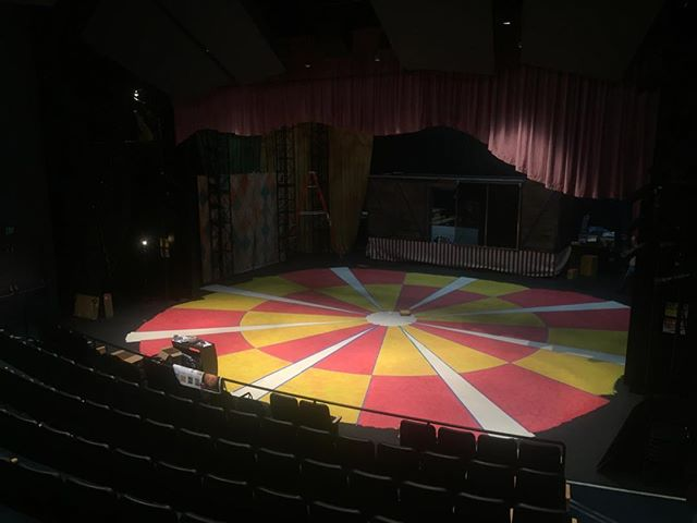 Two days into the paint treatment on the floor for #lysistrata at #chapmanuniversity - tomorrow we add the dirt! There are three different types of worklight in this space (upstage, downstage and the shop are all different color temperatures) so figuring out what color is real has been an adventure! #scenicdesign #scenepainting #basecoat #scumble #circusshow