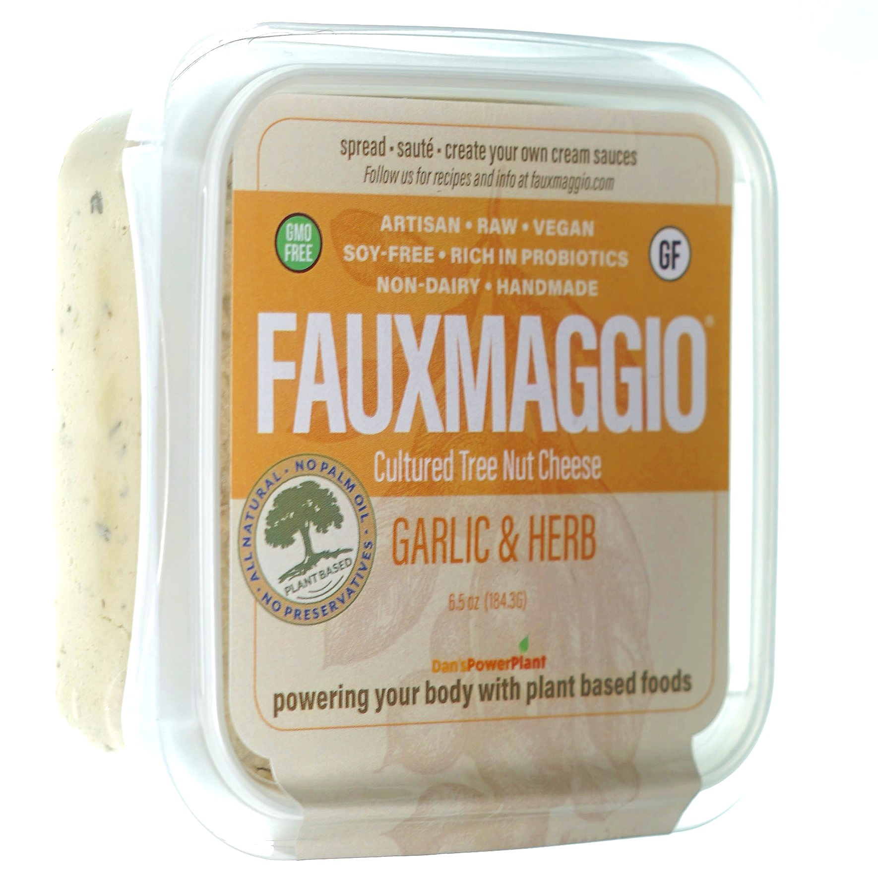 Garlic & Herb - This vegan cheese, produced with carefully crafted and cultured cashews and macadamia nuts flavored with a classic blend of basil, oregano, marjoram, thyme and rainbow peppercorns.Ingredients: Cashews, Organic Lemon Juice, Organic Olive Oil, Macadamia Nuts, Sea Salt, Organic Roasted Garlic, Vinegar, Nutritional Yeast, Basil, Oregano, Marjora, Thyme, Rainbow Peppercorns.