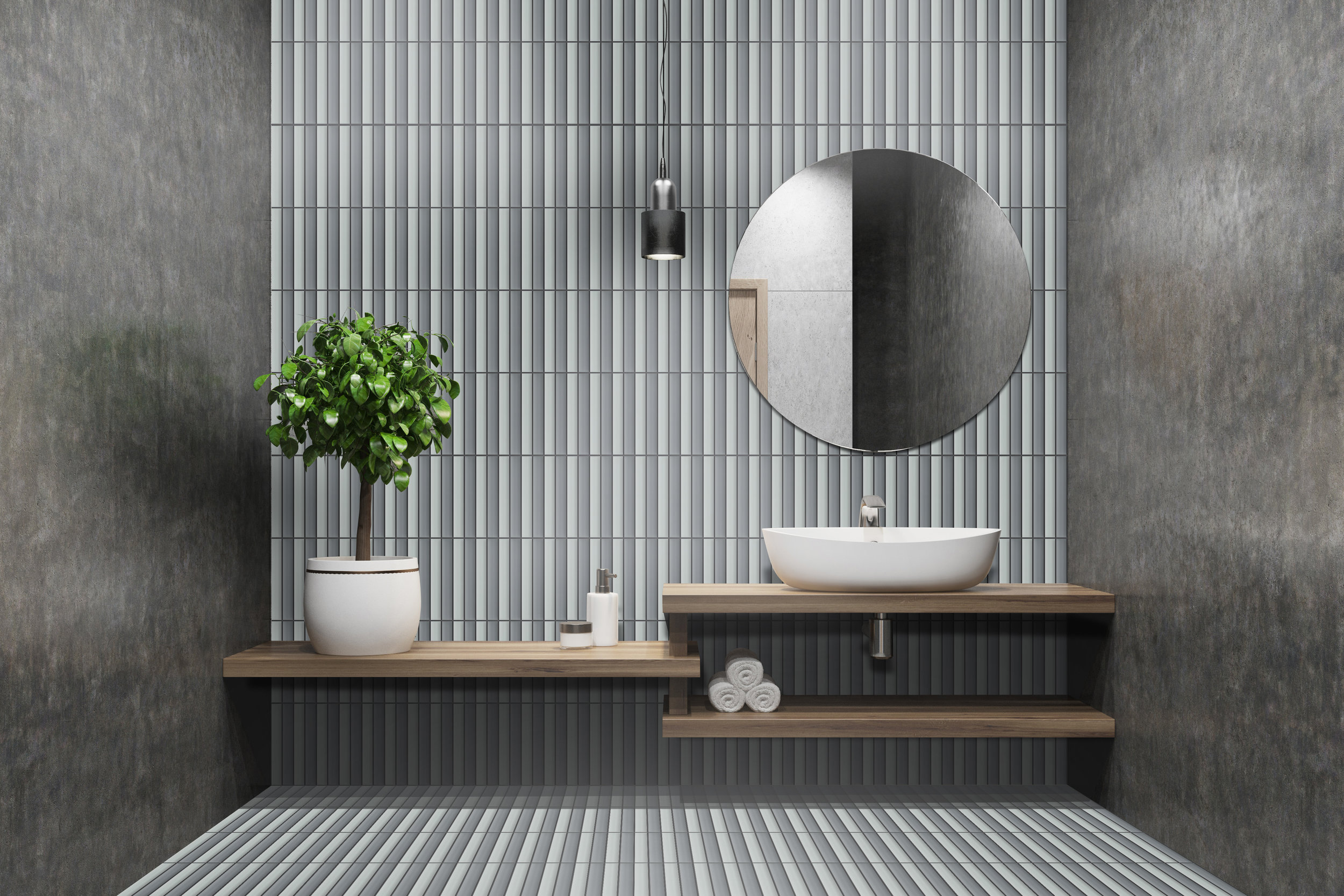 """1"""" x 8"""" of OW30 and OW31 as Wall and Floor tiles"""