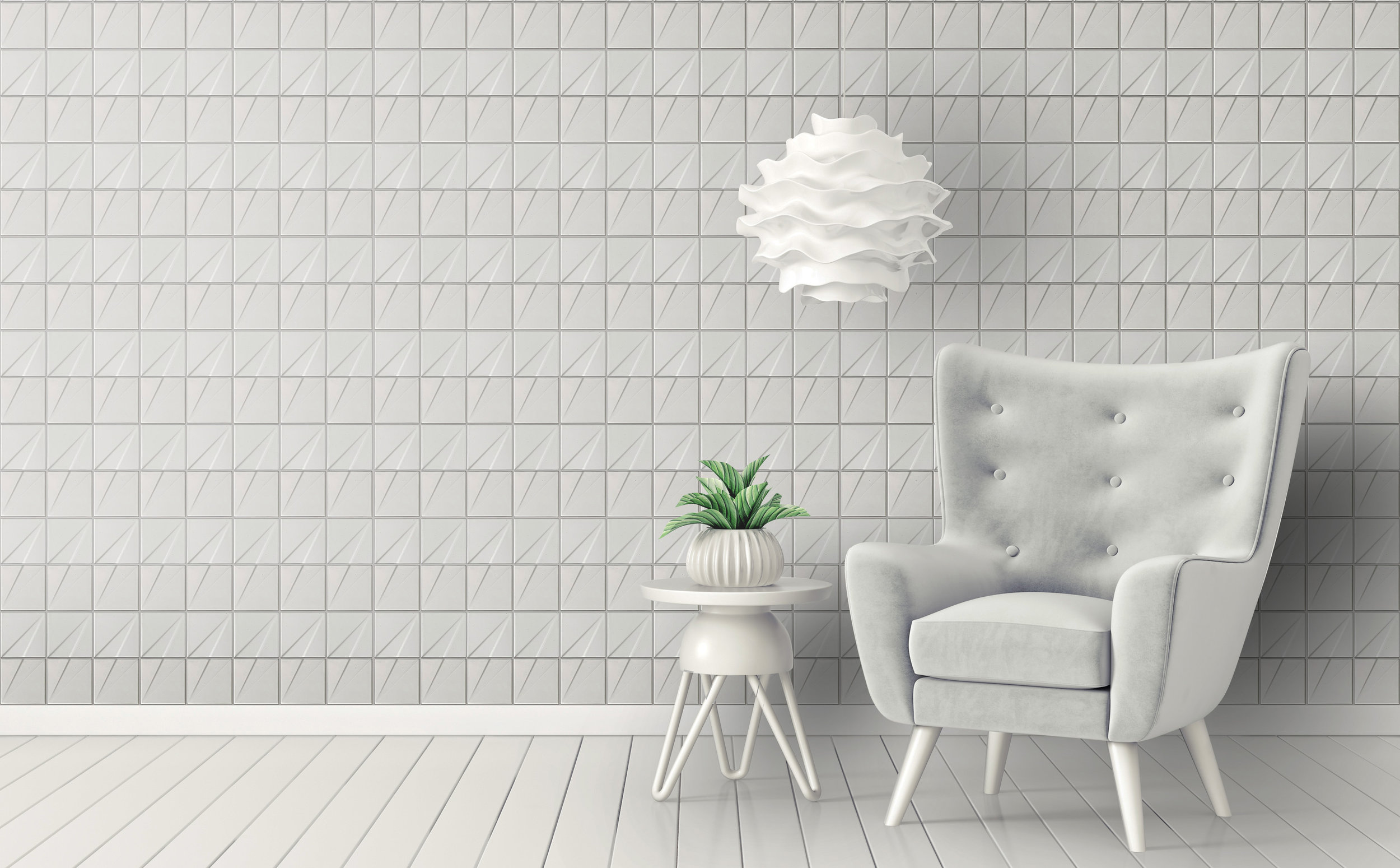 RF443-Matte White as the wall tiles