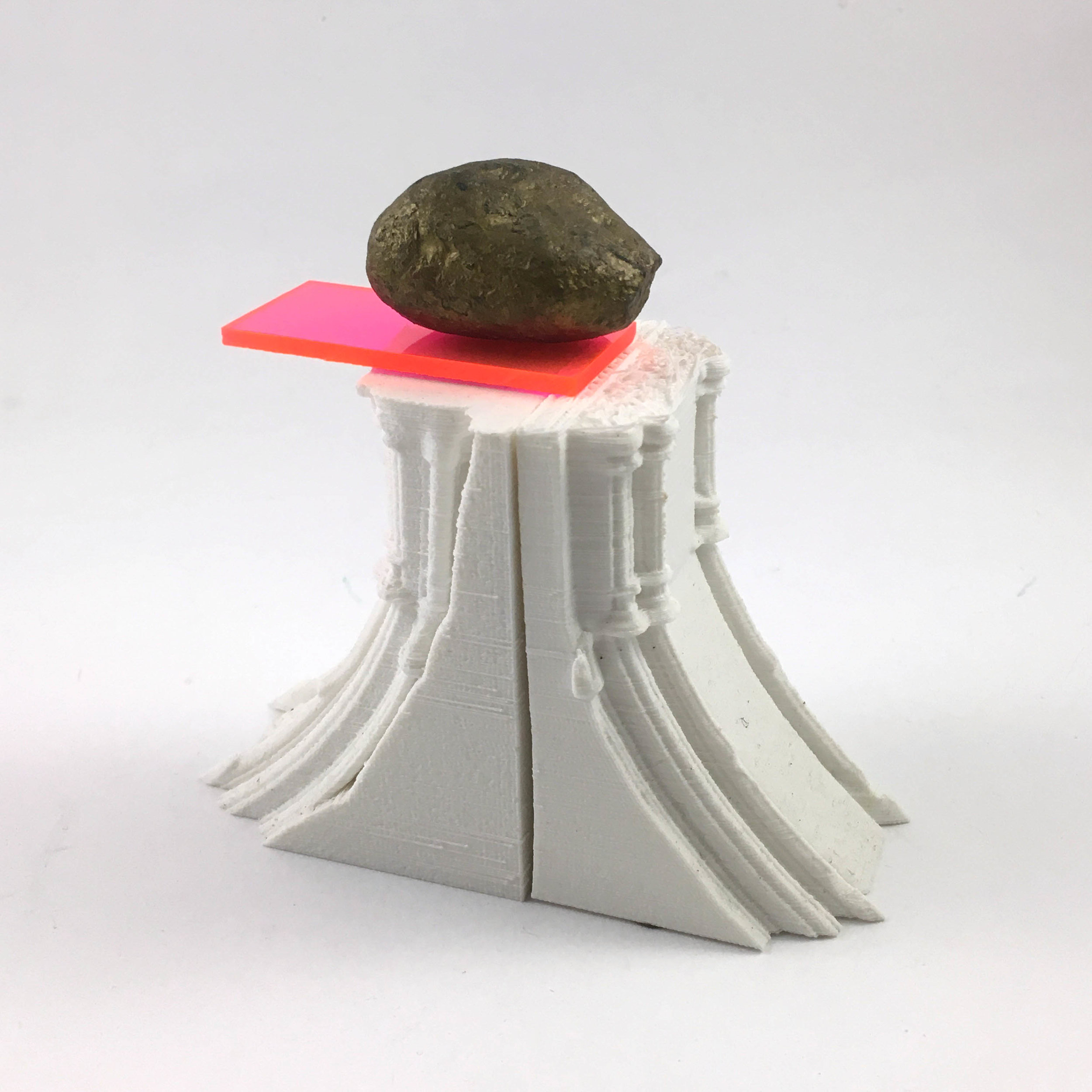 Monument Remodeled   3D-printed plastic, acrylic, gold-painted rock  2018