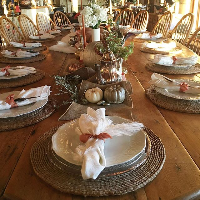 rose gold pumpkins and glittered feathers were the icing on the cake for this table setting for Saturday's bridal breakfast and Sunday's lagniappe brunch. #falldecor #oedweddings #baltzellbliss #onedgedesigns