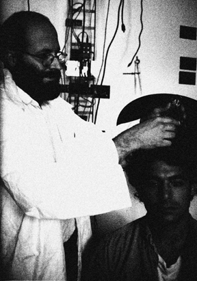 Last known photograph of Dr. Prokopoff, with subject in laboratory, circa 1964.