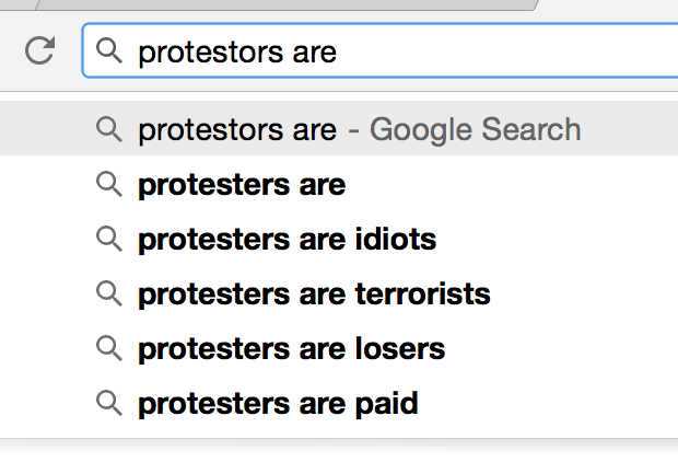 Protesters are automated.